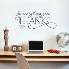 Thanks English Words Quotes Pattern Wall Decal PVC Wall Sticker - Black