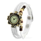 Fashion Retro Bracelet Style PU Band Analog Quartz Watch for Women - White (1 x 626)