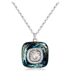 Square Oil Painting Style Crystal Pendant Necklace for Women - Silver