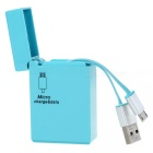 Creative Lighter Style Micro USB 5Pin / USB 2.0 Data Sync & Charging Cable for Samsung & More - Blue