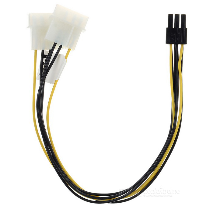 Akasa-4pin Molex to 6pin PCIe Adapter Provides PSU - Black