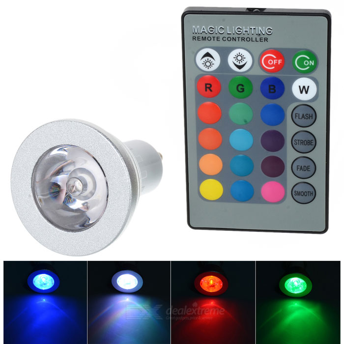 GU10 3W LED Spotlight RGB Colorful Light 80lm w/ Remote - White