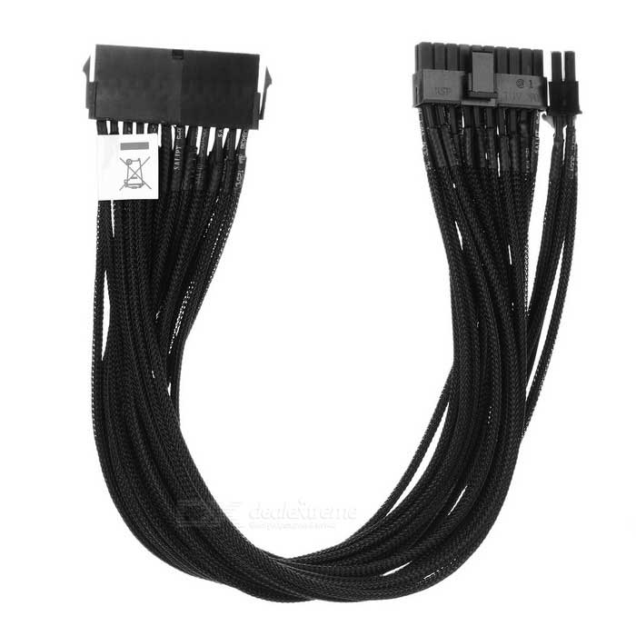 Akasa 24pin ATX PSU Extension Cable - Black (40cm)