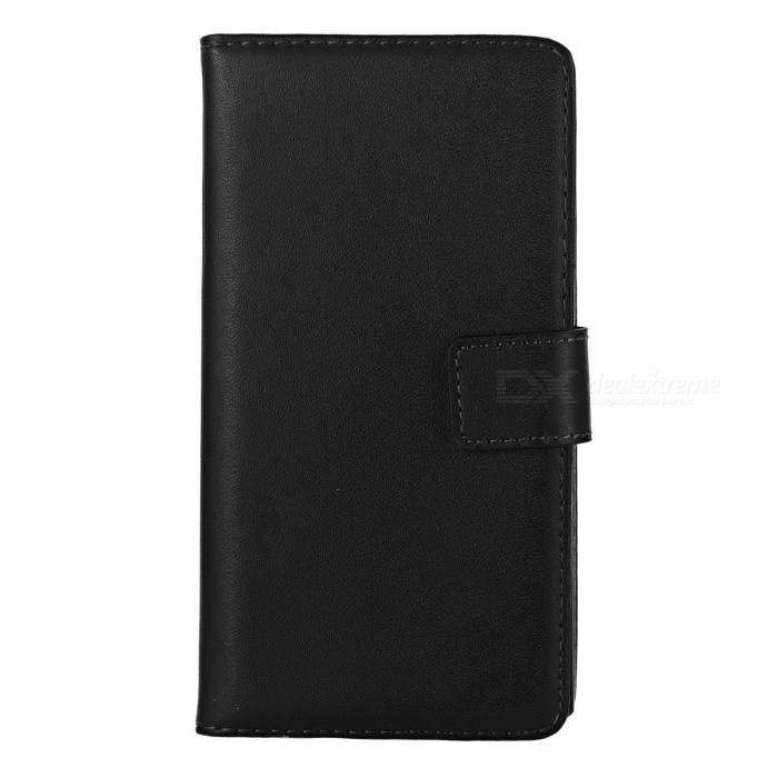 Mini Smile Flip-Open Split Leather Case for Huawei P7 - Black