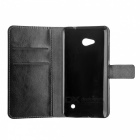 Lychee Pattern PU Case w/ Card Slots for Microsoft Lumia 640 - Black