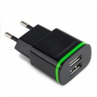 Cwxuan USB 2.0 2-Port 5V Fast-Charging EU Plug Power Charger - Black