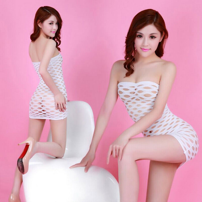 Large Holes Mesh Sexy Mini Dress Lingerie Nightwear - White