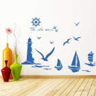 Sailboat Lighthouse Seagull Pattern Home Decoration PVC Wall Sticker Decal - Sapphire