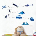Creative Cartoon Plane & Car Design PVC Wall Sticker Decal for Children's Room - Blue + White
