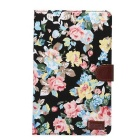 Flower Pattern Protective PU Case w/ Stand & Card Slots for Samsung Galaxy Tab E 9.6 T560 / T561