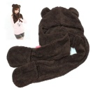 ZIQIAO Cartoon Bear Ultra Soft Scarf Gloves Conjoined Warm Cap - Dark Brown