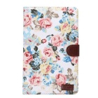 Flower Pattern PU Leather w/ Stand / Card Slot for Samsung Galaxy Tab E 9.6 T560 / T561 - White