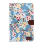 Flower Pattern PU Case w/ Stand for Samsung Galaxy Tab E 9.6 - Blue