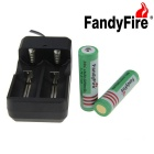 FandyFire EU Plug Battery Charger + 3.7V 2000mAh 18650 Rechargeable Battery