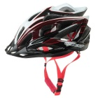 BaseCamp Ultra-light One-Piece Adjustable Bicycle Helmet w/ Safety FlashLight - Black + White + Red