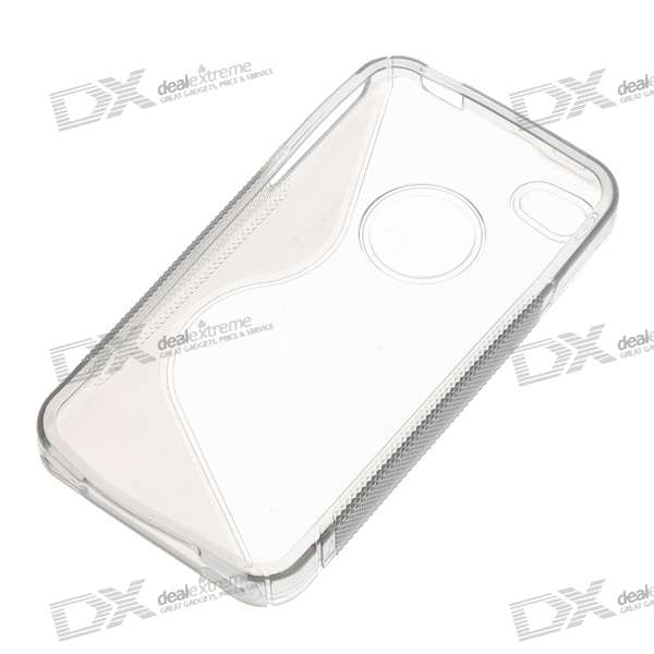 Protective Anti-Slip Case for Iphone 4 - Crystal + Gray