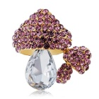 Mushroom Style Crystal Decorated Brooch - Golden