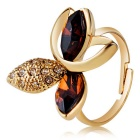 Maple Leaf Design Crystal Opening Ring for Women - Golden