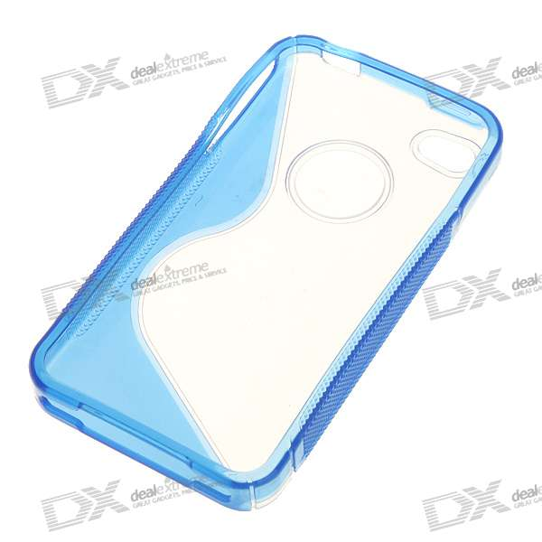 Protective Anti-Slip Case for Iphone 4 - Crystal + Blue