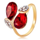 Stylish Water Drop Shaped Women's Crystal Ring - Golden