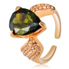 Fashion Water Drop with Wings Design Crystal Opening Ring for Women - Golden
