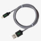 MFi Certified CARVE Nylon Braided 8Pin Blitz-USB-Kabel für iPhone 6 / 5S / 5C / 5 - Schwarz (1,2 m)