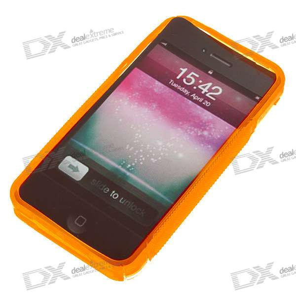 Protective Anti-Slip Case for Iphone 4 - Crystal + Orange