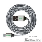 CARVE Braided USB to 8Pin Lightning Cable for IPHONE - Silver (1.2m)