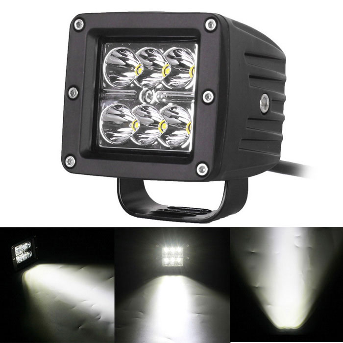 18W 6000K 6-LED White Spot Light Square Working Lamp Bar for Car/Boat