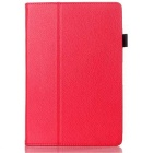 PU Lychee Grain Leather Case Cover w/ Auto Sleep / Wake Up for Lenovo A7600 A10-70 10.1 Tablet - Red