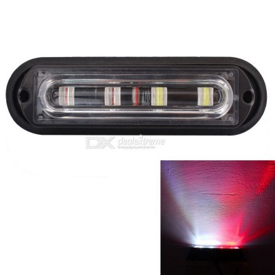 MZ 12W White + Red 4-LED Waterproof Car Strobe Emergency Warning Light