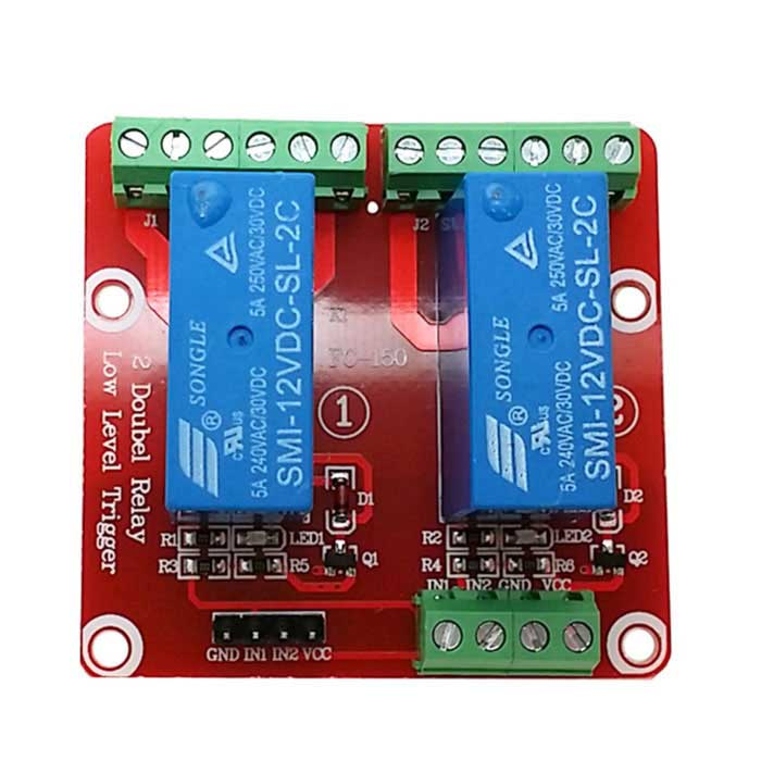 2-Channel 12V Low Level Dual Power Relay Module - Red + Blue