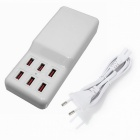 60W 5V 12A 6-Port USB Charger for Cellphone / Tablet PC - White