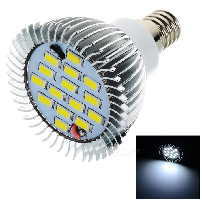 LeXing Lighting Dimmable E14 6W LED Spotlight Bulb Bluish White 15-SMDE14<br>Form  ColorWhite + SilverColor BINBluish WhiteMaterialAluminum + plasticQuantity1 DX.PCM.Model.AttributeModel.UnitPowerOthers,0~6WRated VoltageAC 220-240 DX.PCM.Model.AttributeModel.UnitConnector TypeE14Chip BrandOthersEmitter TypeOthers,5730 SMD LEDTotal Emitters15Theoretical Lumens0~600 DX.PCM.Model.AttributeModel.UnitActual Lumens0~378 DX.PCM.Model.AttributeModel.UnitColor Temperature12000K,Others,6500~7000KDimmableYesBeam Angle120 DX.PCM.Model.AttributeModel.UnitCertificationCE, RoHSPacking List1 x Bulb<br>