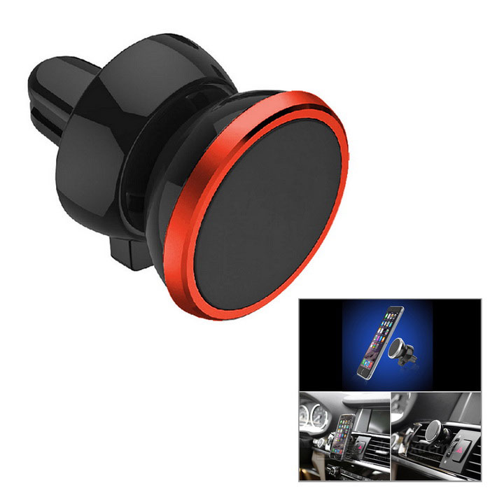 Magnetic Car Air Conditioner Outlet Vent Mount for Phone - Black + RedMounts &amp; Holders<br>Form ColorBlack + Red + Multi-ColoredModelN/AMaterialPlastic + PCQuantity1 DX.PCM.Model.AttributeModel.UnitMount TypeCar MountPacking List1 x Mount2 x Iron sheets<br>