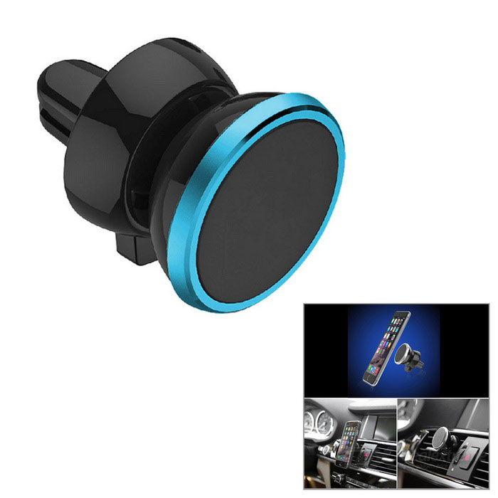 Magnetic Car Air Conditioner Outlet Vent Mount for Phones - Black+BlueMounts &amp; Holders<br>Form ColorBlack + Blue + Multi-ColoredModelN/AMaterialPlastic + PCQuantity1 DX.PCM.Model.AttributeModel.UnitMount TypeCar MountPacking List1 x Mount2 x Iron sheets<br>