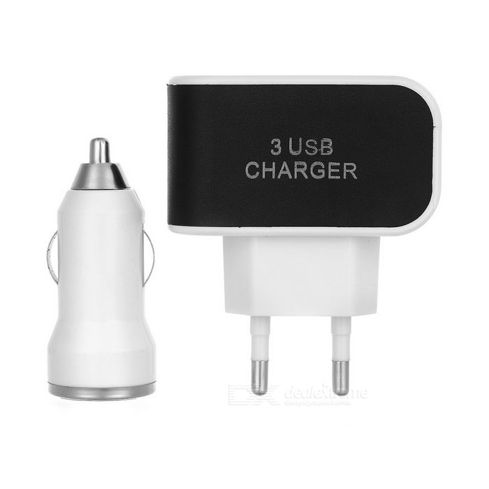 3-USB Fast Charger + Dual USB Car Charger + Micro USB Cable - White