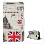 British Stamps Design Protective PU Full Body Case w/ Stand & Card Slots for Samsung Galaxy Note 5
