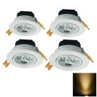 YouOkLight 4PCS 3W 3-LED Ceiling Lamp Warm White 220lm 3000K w/ LED Driver - White (AC 100~240V)