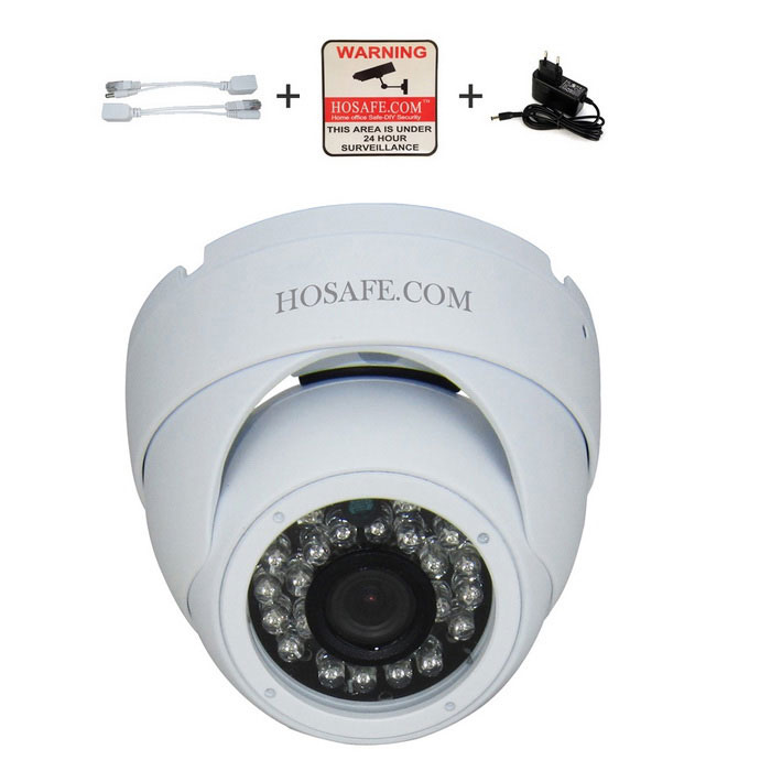 HOSAFE 1.3MP 960P HD IP Camera 24-IR-LED POE Kit - White (EU Plug)