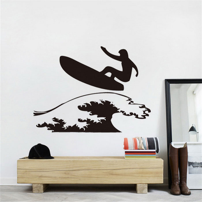 Creative Surfing Pattern Hollow Decorative Living Room Bedroom Wall Sticker Decal - Black(SKU 407359)