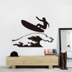 Creative Surfing Pattern Hollow Decorative Living Room Bedroom Wall Sticker Decal - Black