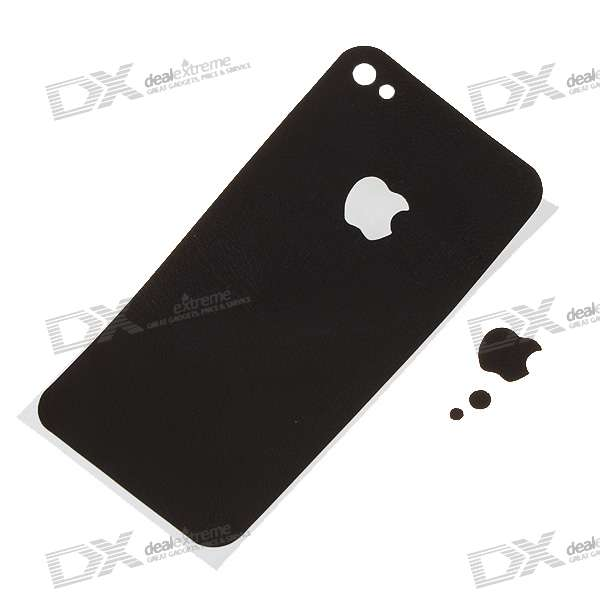PU Dekorative Schutz Backside Sticker für iPhone 4 - Schwarz (Plain Pattern)