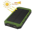 Multifunction Dual USB 5000mAh Li-polymer External Mobile Power Bank - Green + Black