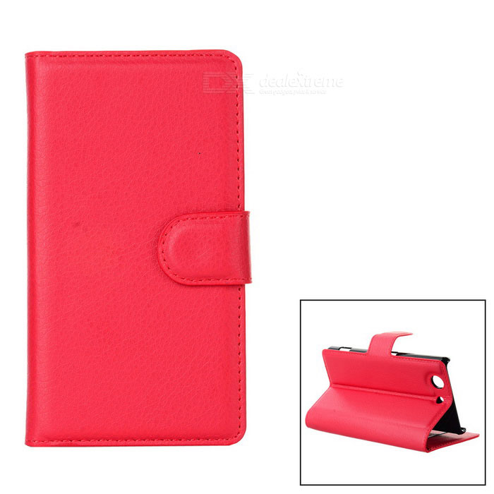 Litchi Pattern PU Case w/ Stand, Card Slots for Sony Z3 Mini - Red