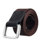 Casual Canvas Belt w/ Double Ring Buckle - Brown