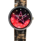 Tie-dyed Leather Band Quartz Watch with Pentagram Pattern for Women - Black + Red (1 x 377)