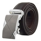 Men's Elegant Split Leather Belt w/ Cross Line Pattern Automatic Buckle - Silver + Coffee