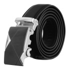 Men's Elegant Split Leather Belt w/ Buckle - Silvery White + Black
