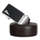 Men's Split Leather Belt w/ Triangle Pattern Buckle - Silver + Coffee